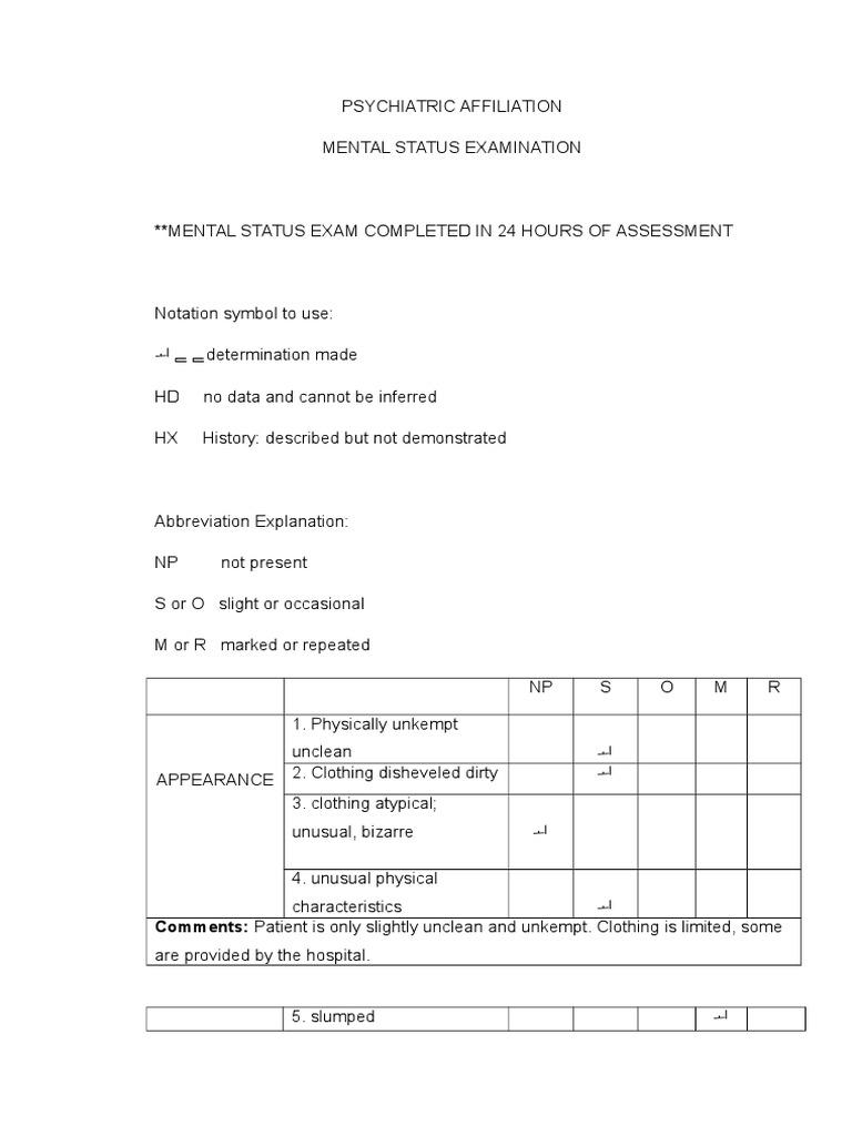Mental Status Exam