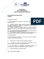 Aula Complementar-Processo Do Trabalho-Profª Wendy Luiza - Aula Dia 12-03-09