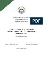 Biljanalungulov_disertacija. Analiza Ishoda Učenja Kao Indikatora Kvaliteta Visokog Obrazovanja. Doktorska Disertacija.