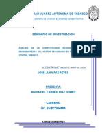 ANALISIS DE LA COMPETITIVIDAD ECONOMICA DE LAS MICROEMPRESAS DEL SECTOR SECUNDARIO EN EL MUNICIPIO DE CENTRO, TABASCO.