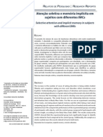 Atenção seletiva e memória implícita em sujeitos com diferentes IMCs