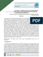 Critérios Ténicos à Verificação Da Legalidade de Aditivos Em Obras Públicas Justificados Com Base Em Alterações de Projeto