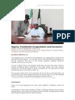 Nigeria, Presidential Incapacitation and Succession -  280210