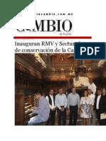 25-08-2015 Diario Matutino Cambio de Puebla - Inauguran RMV y Sectur Obras de Conservación de La Catedral