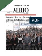 24-08-2015 Diario Matutino Cambio de Puebla - Arranca Ciclo Escolar Con La Entrega de Tabletas Digitales