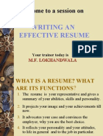 Writing and Effective Resume