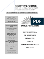 Ley Orgánica de Recursos Hídricos, Usos Ecuador y Aprovechamiento Del Agua (1)