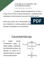 Reactores batch, flujo pistón  y reactores  CSTR
