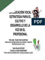 Educacion Vocal. Estrategia Para El Cultivo y Desarrollo de La Voz Profesional1