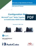 LTRT-11322 400HD Series IP Phones for Microsoft Lync BToE Configuration Note