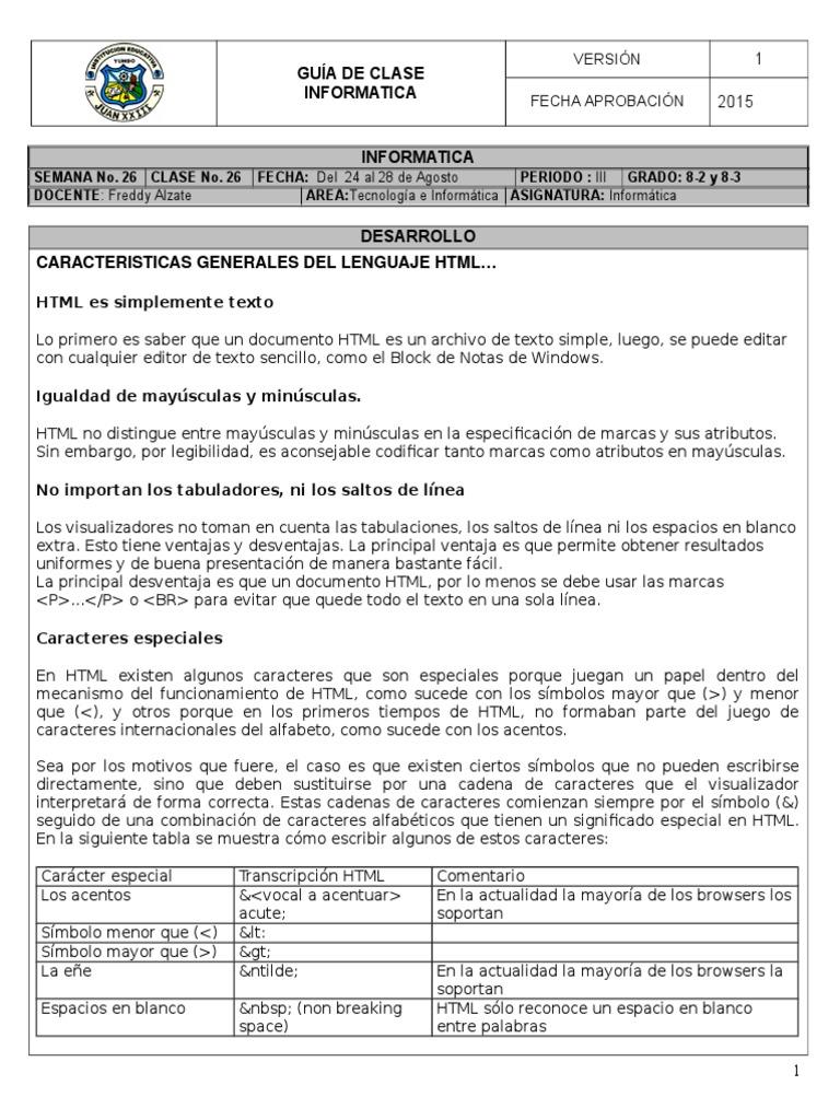 Inf 8 Html Clase 26doc - Espacio-en-blanco-html