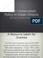 Water Conservation Policy in Urban Ontario