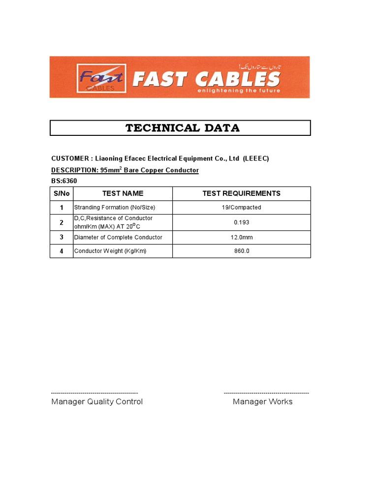 Tech Data Sheet Of 95mm Sq Bare Copper Conductor Cosworth Ecu Wiring Diagram