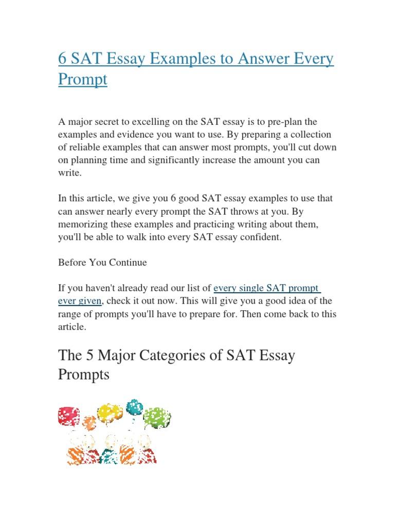 good sat essay examples