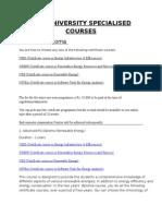 Teri University Specialised Courses