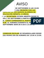 AVISO INICIO CURSO 2015-16