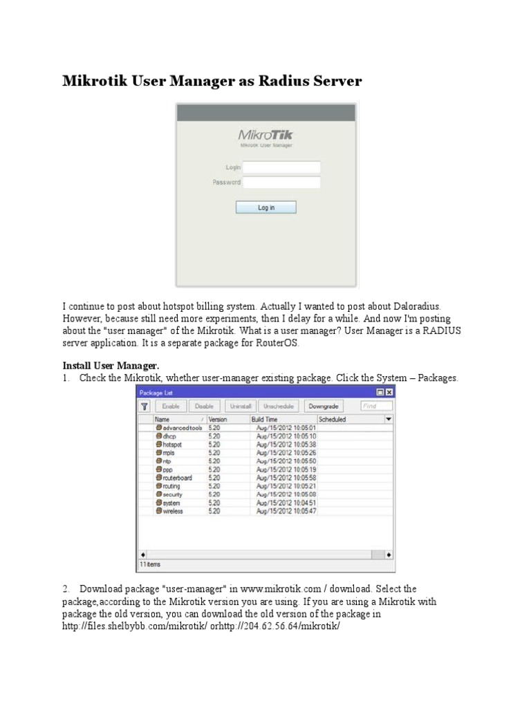 Mikrotik User Manager as Radius Server | Radius | Login