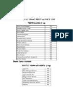 Carnival Vegan Menu & Price List