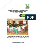 Propuesta Plan de Acción de Cambio Climático para el municipio Cercado