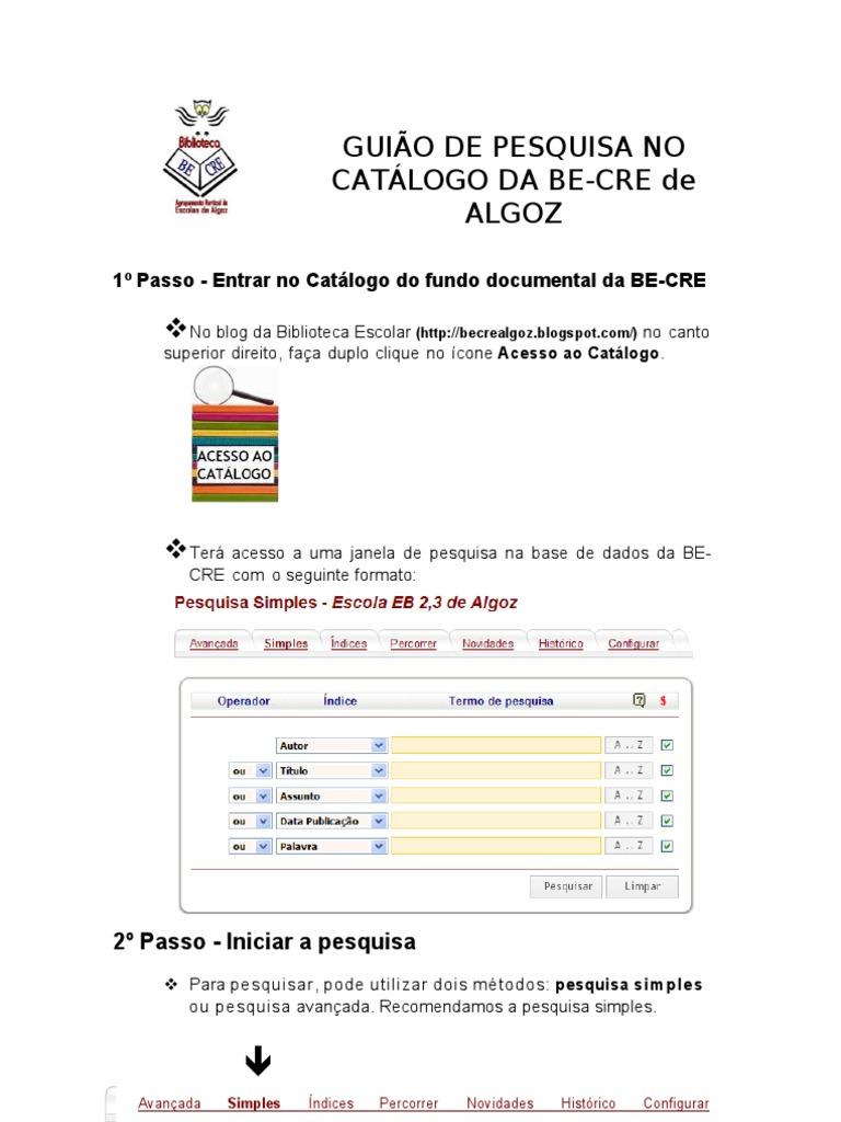 d63a822dfa7 Guiao de Pesquisa Catalogo Da Be Cre Algoz