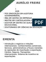 Aula 1 - Negócios Internacionais - Apresentação