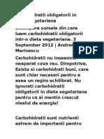 Carbohidratii Obligatorii in Dieta Vegetariana