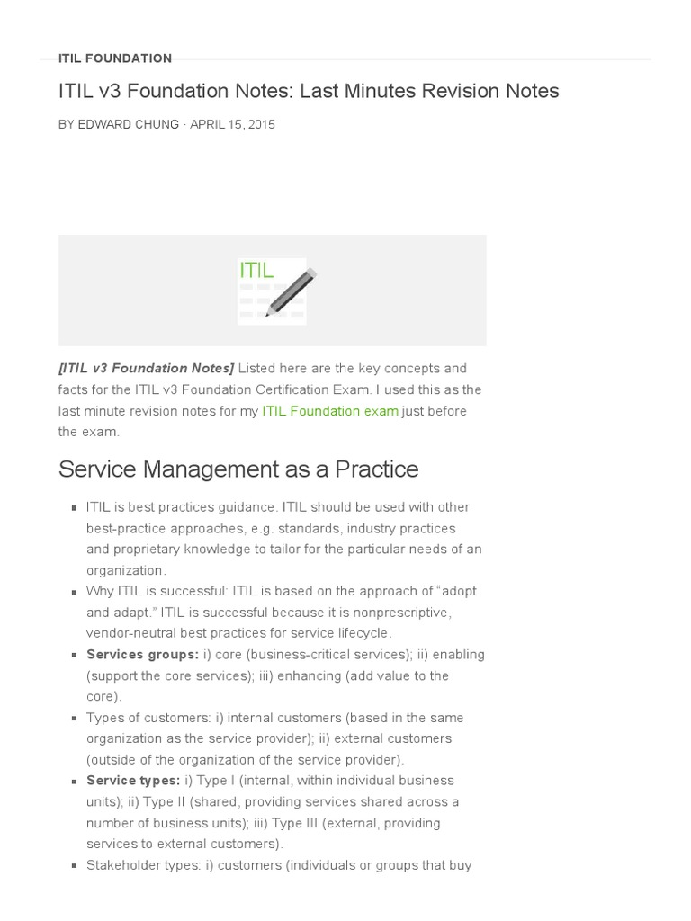 14 Itil V3 Foundation Notes Last Minutes Revision Notes Pmp Exam