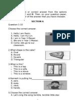 Soalan ENGLISH BI Bahasa Inggeris Tahun 3 Paper 1