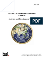 BSI HACCP and GMP Self-Assessment Checklist - Australia and New Zealand Version2 - 9 April 2014
