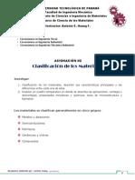Asignación #2. Clasificación de Los Materiales.
