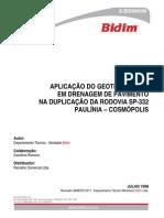 Aplicação Do Geotêxtil Bidim Em Dreno de Pavimento Na Duplicação Da Rodovia Sp332 Paulínia Cosmópolis (Tecnico)