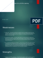 Strengths and Weaknesses of My as Film Opening