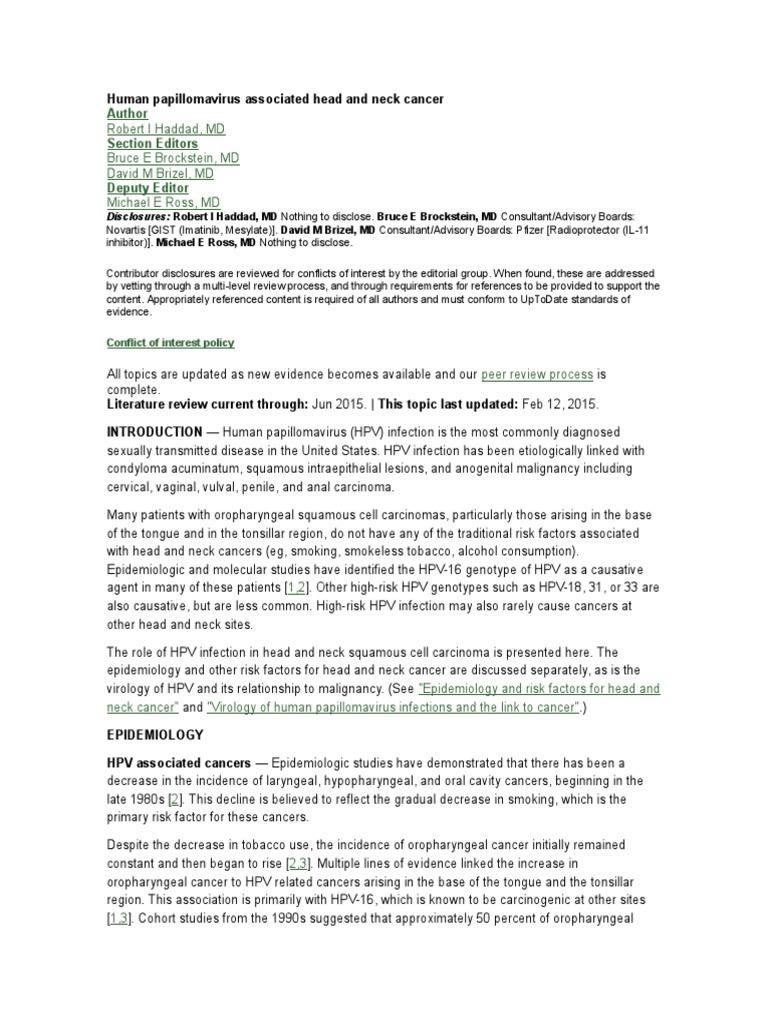 Human Papillomavirus Associated Head and Neck Cancer | Head