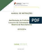 Manual de Instruções – Manifestação de Preferências Para Contratação Inicial e Reserva de Recrutamento – Ano Escolar de 2015%2F2016