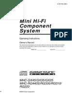 Sony MHC-RG330 - Manual
