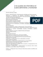Funciones de Los Puestos de Informática en Una Empresa Para Administrar y Monitorear Una Red