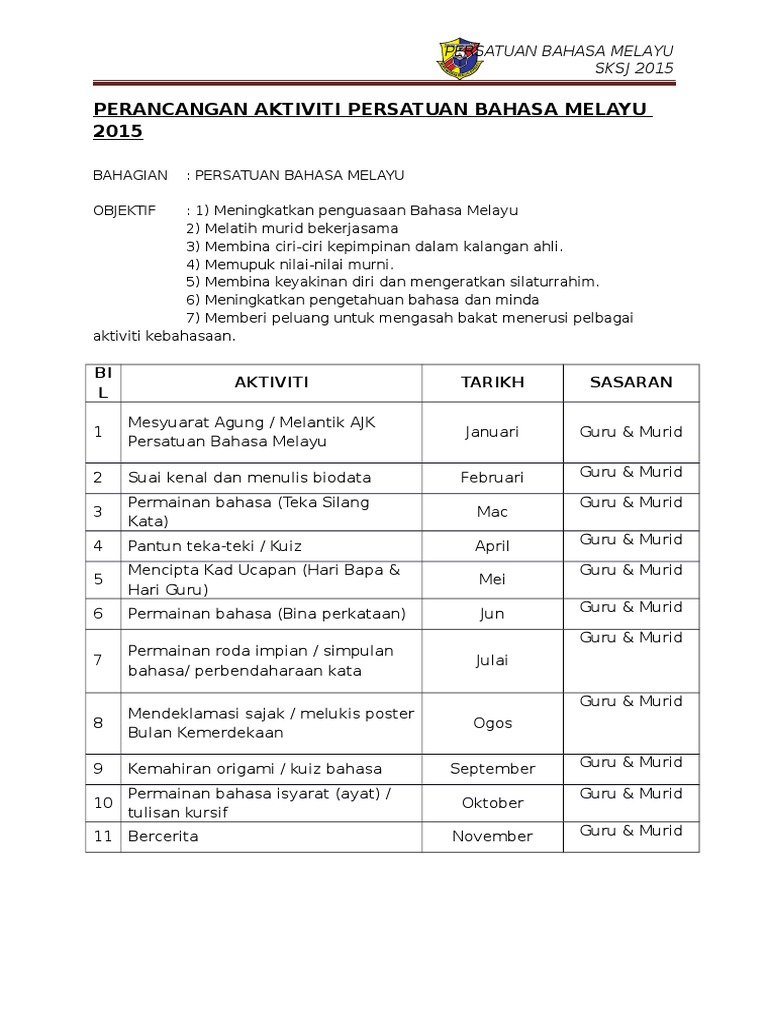 Perancangan Aktiviti Persatuan Bahasa Melayu 2015