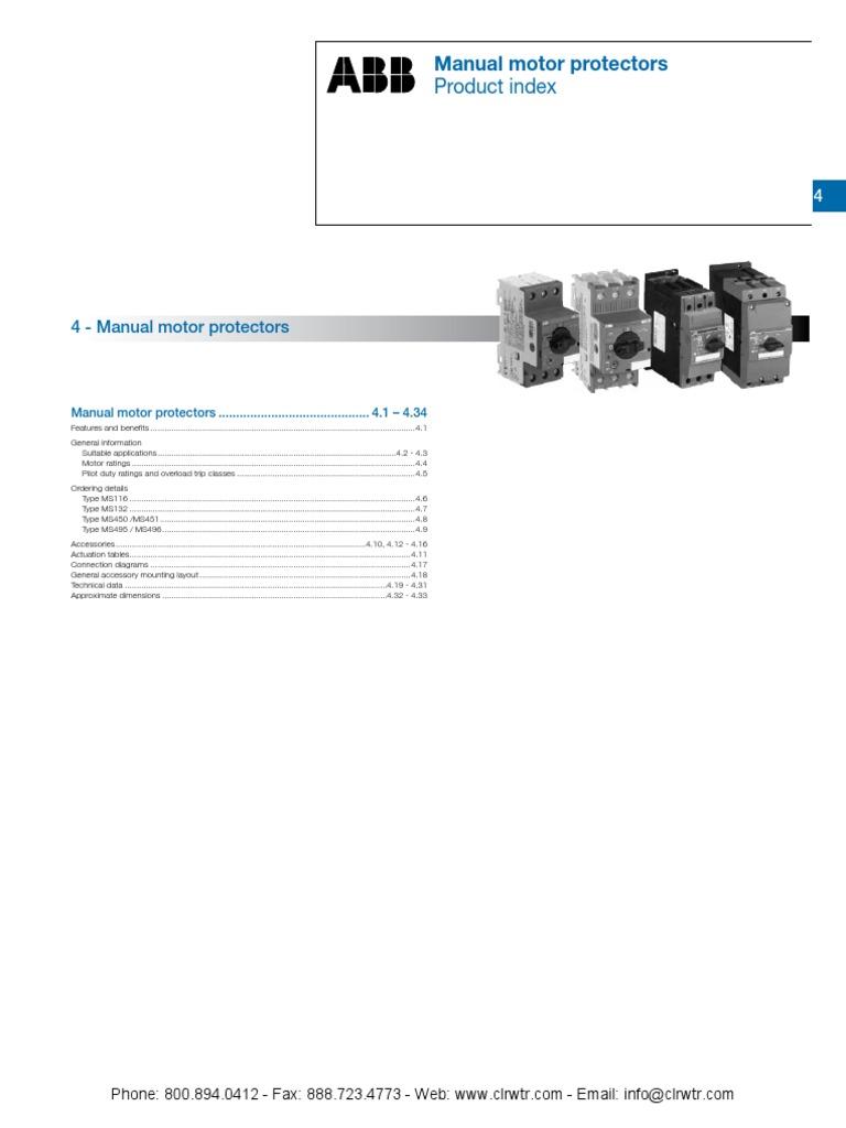 Single / Three Phase Motor Starter MS132 Series 7.5 hp Manual 690 ...