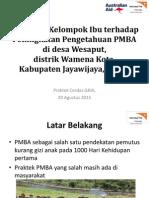 Pengaruh Kelompok Ibu terhadap peningkatan pengetahuan PMBA di desa Wesaput, Kab. Jayawiya, Papua