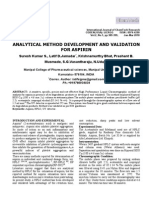 (2010 Jan) Analytical Method Development and Validation for Aspirin - International Journal of ChemTech Research, 2(1), 389-399