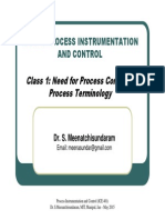 Class 1 - Need for Process Control & Process Terminology