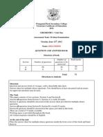 2012 Unit One Chemistry Exam