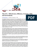 The 5 E's - Effectiveness, Efficiency, Economy, Ethic and Environment