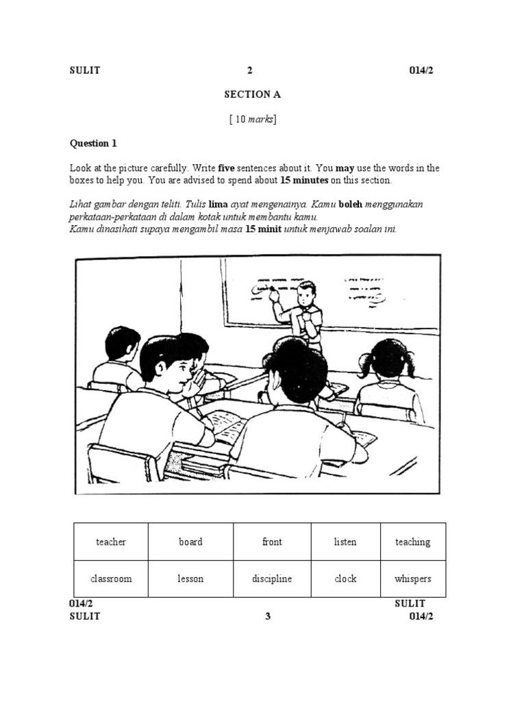 Soalan ENGLISH BI Bahasa Inggeris Tahun 5 Paper 2