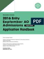 Ritsumeikan University 2016 Application Handbook