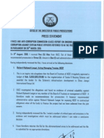 Dpp's Press Release on Ongoing Corruption Cases Issued on 27th August 2015