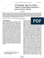 Influence of Principals Age on Conflict Management Styles in Secondary Schools in Kisumu County Kenya