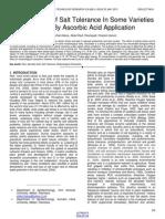 Improvement of Salt Tolerance in Some Varieties of Rice by Ascorbic Acid Application