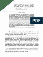 LA VIS ET METUS (CAN. 1103) NEL CODEX IURIS CANONICI