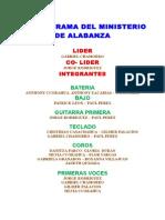 Organigrama Del Ministerio de Alabanza